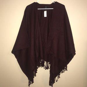 NWT Talbots poncho shawl fringe sweater cardigan